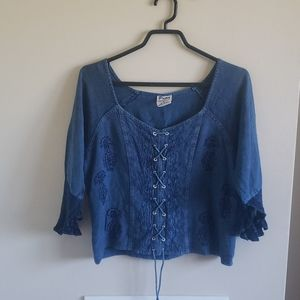 Y2K Embroidered Lace Up Blouse